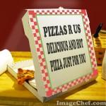 Pizza box with marketing slogan