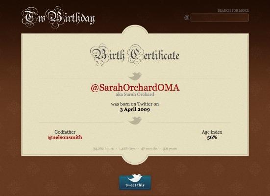 Twitter Birthday Certificate - Sarah Orchard