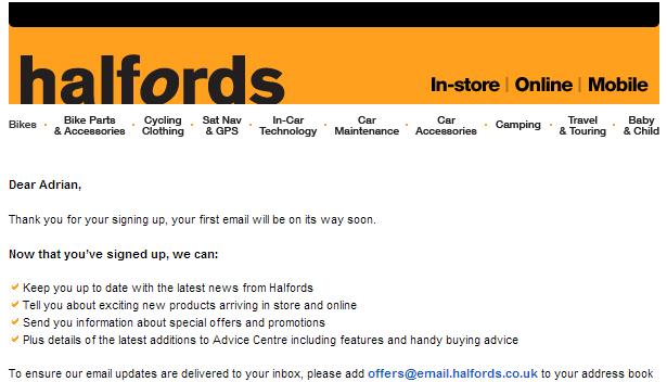 Haffords welcome email example