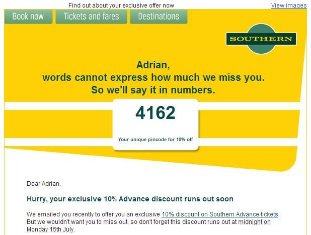 Southern rail time/date email example