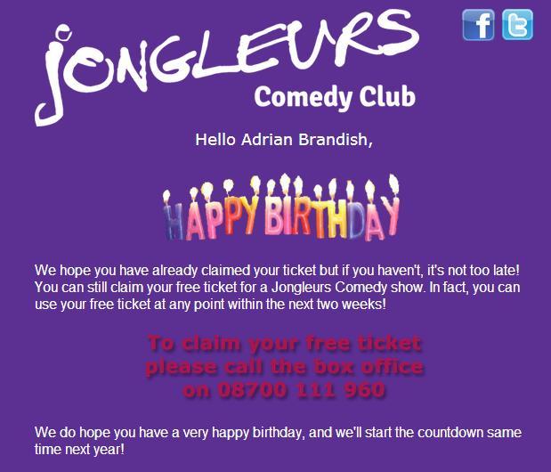 Jongleaurs Happy Birthday email example